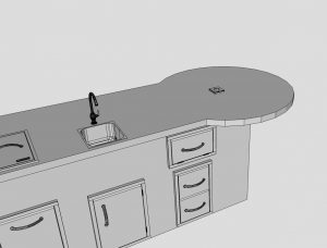 Staight Island with Built Round Table - BBQ Concepts of Las Vegas, Nevada